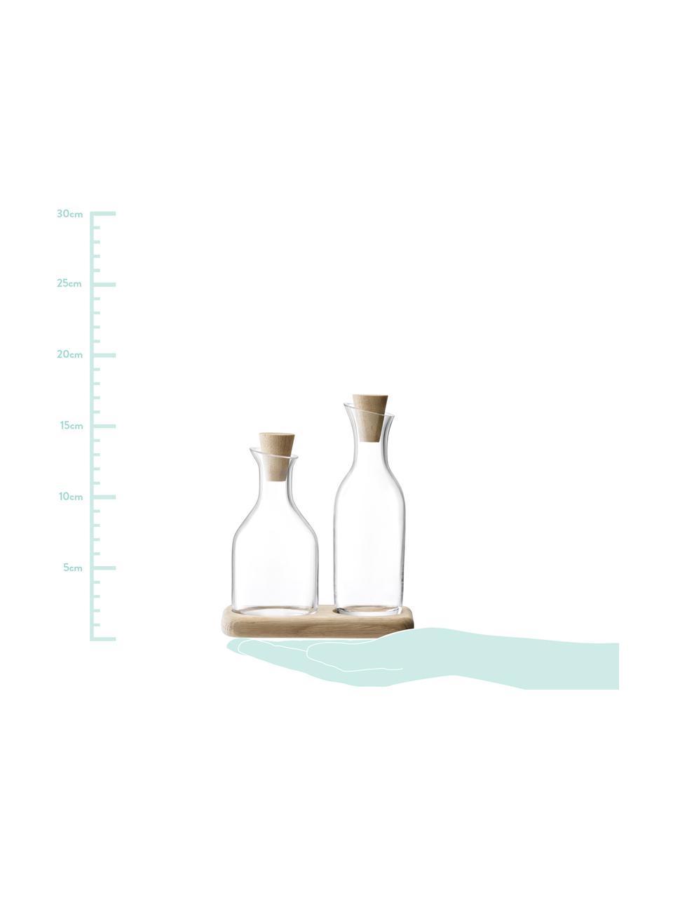 Essig- und Öl-Spender Serve aus Glas und Eichenholz, 3er-Set, Spender: TransparentUnterteil: EichenholzVerschlüsse: Eichenholz, Sondergrößen