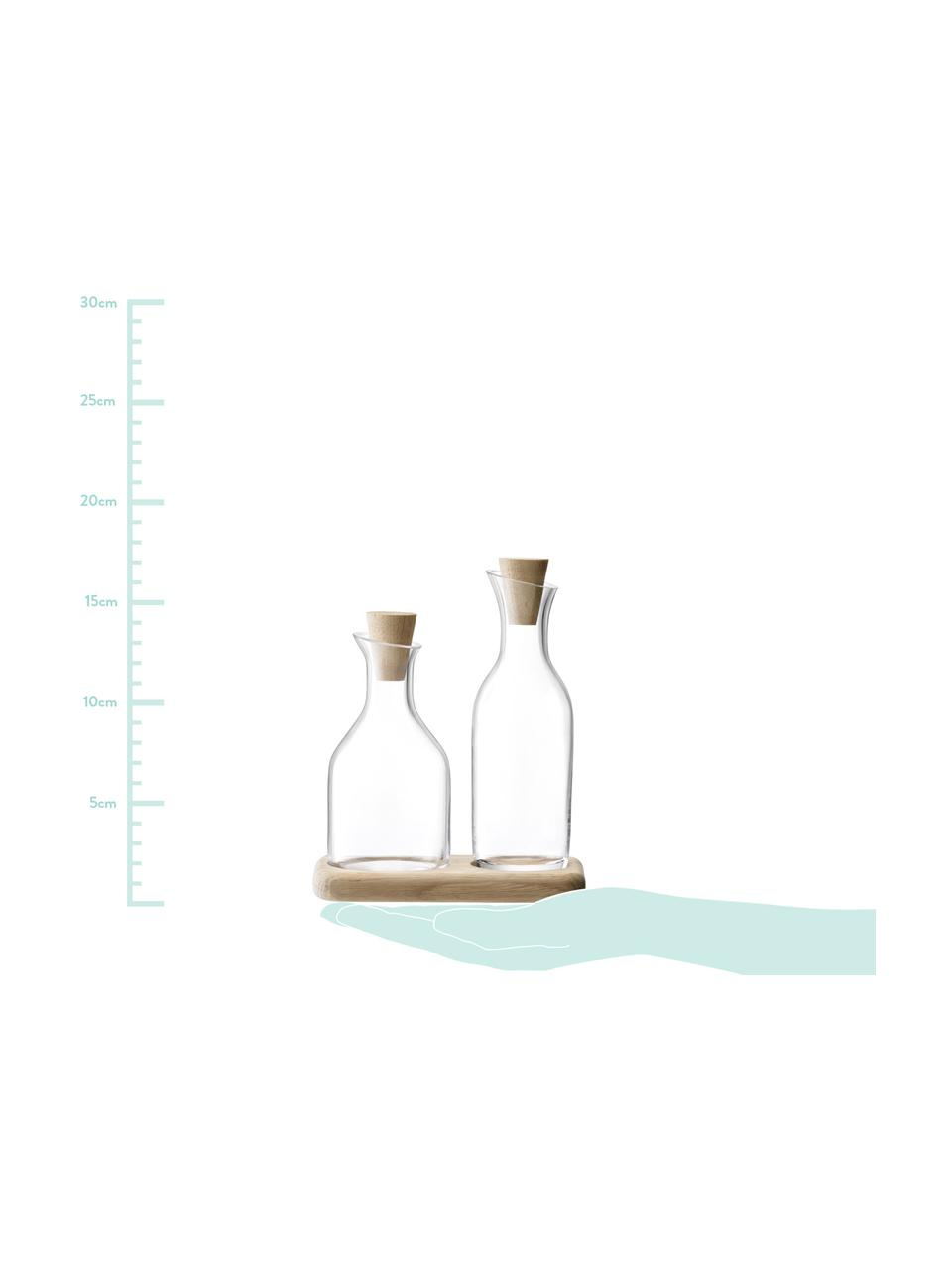 Set olio e aceto Serve in vetro e legno 3 pz, Dispenser: trasparente Parte inferiore: legno di quercia Serrature: legno di que, Set in varie misure