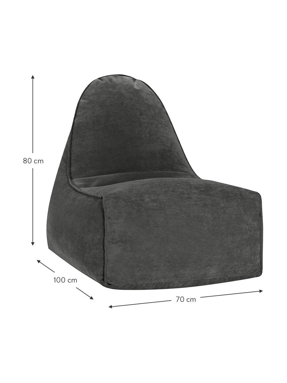 Pouf sacco in velluto a coste Cordone, Rivestimento: velluto a coste (96% poli, Manico: poliestere (similpelle), Antracite, Larg. 70 x Alt. 80 cm