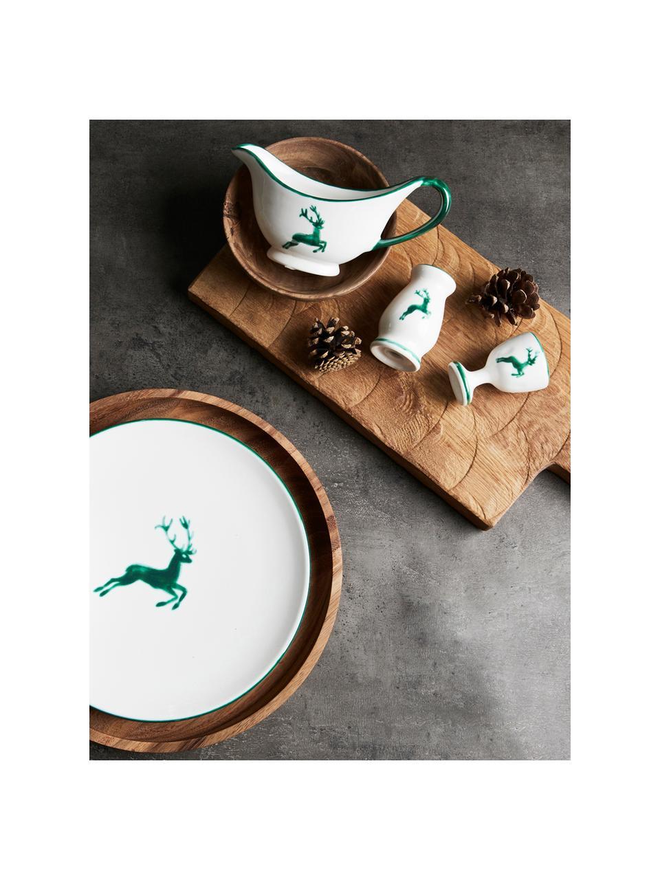 Pepiera dipinta a mano Gourmet Grüner Hirsch, Ceramica, Verde, bianco, 4 x 6 cm