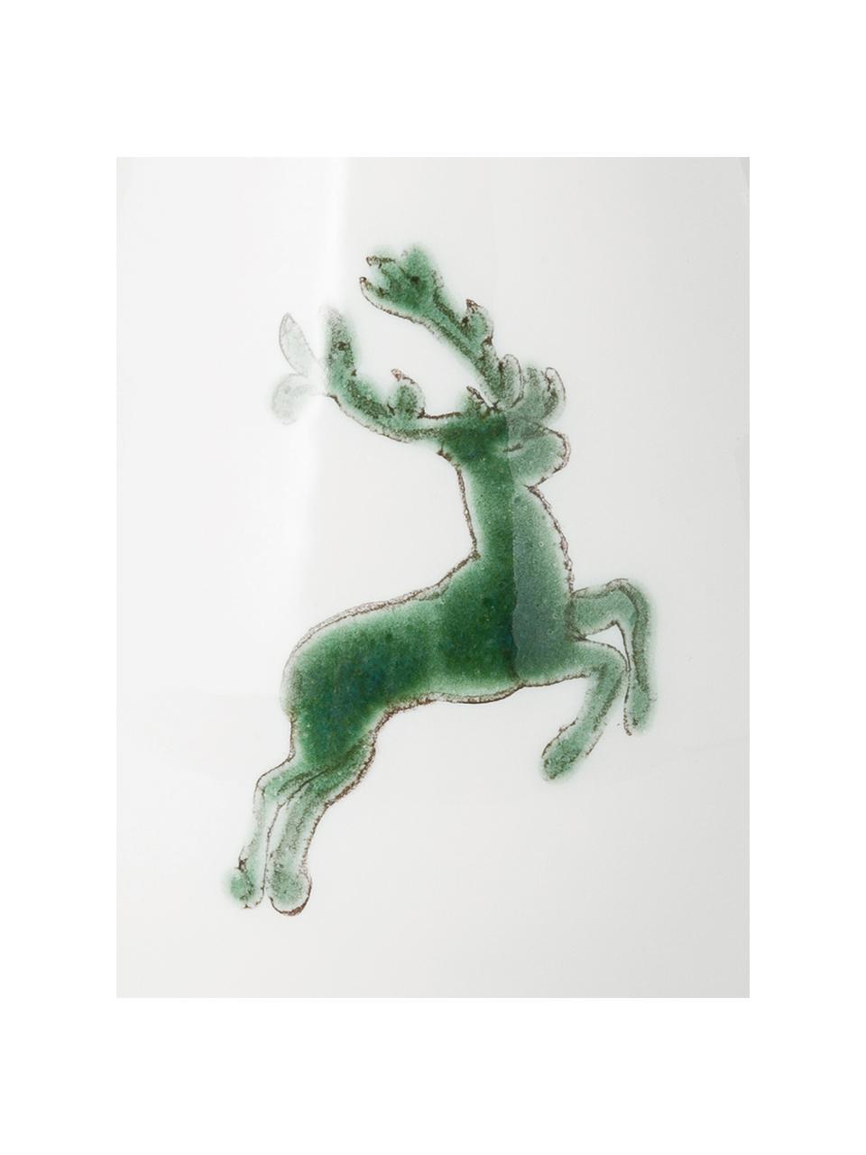 Ręcznie malowana pieprzniczka Gourmet Grüner Hirsch, Ceramika, Zielony, biały, S 4 x W 6 cm