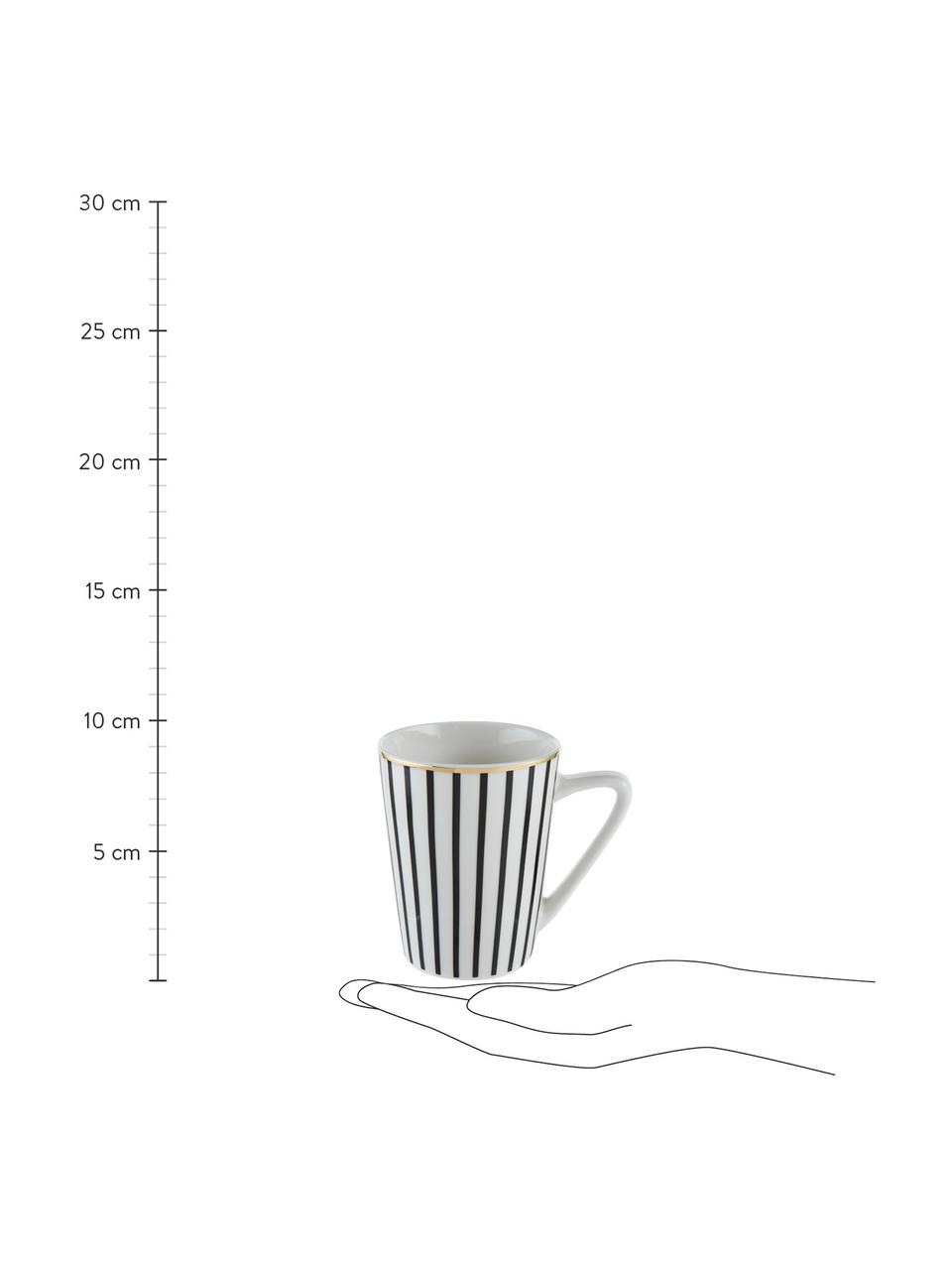 Kubek do herbaty Pluto Loft, 4 szt., Porcelana, Czarny, biały, odcienie złotego, Ø 8 x W 10 cm