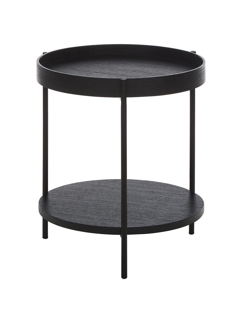Stolik pomocniczy z drewna Renee, Blat: płyta pilśniowa średniej , Stelaż: metal malowany proszkowo, Czarny, Ø 44 x W 49 cm