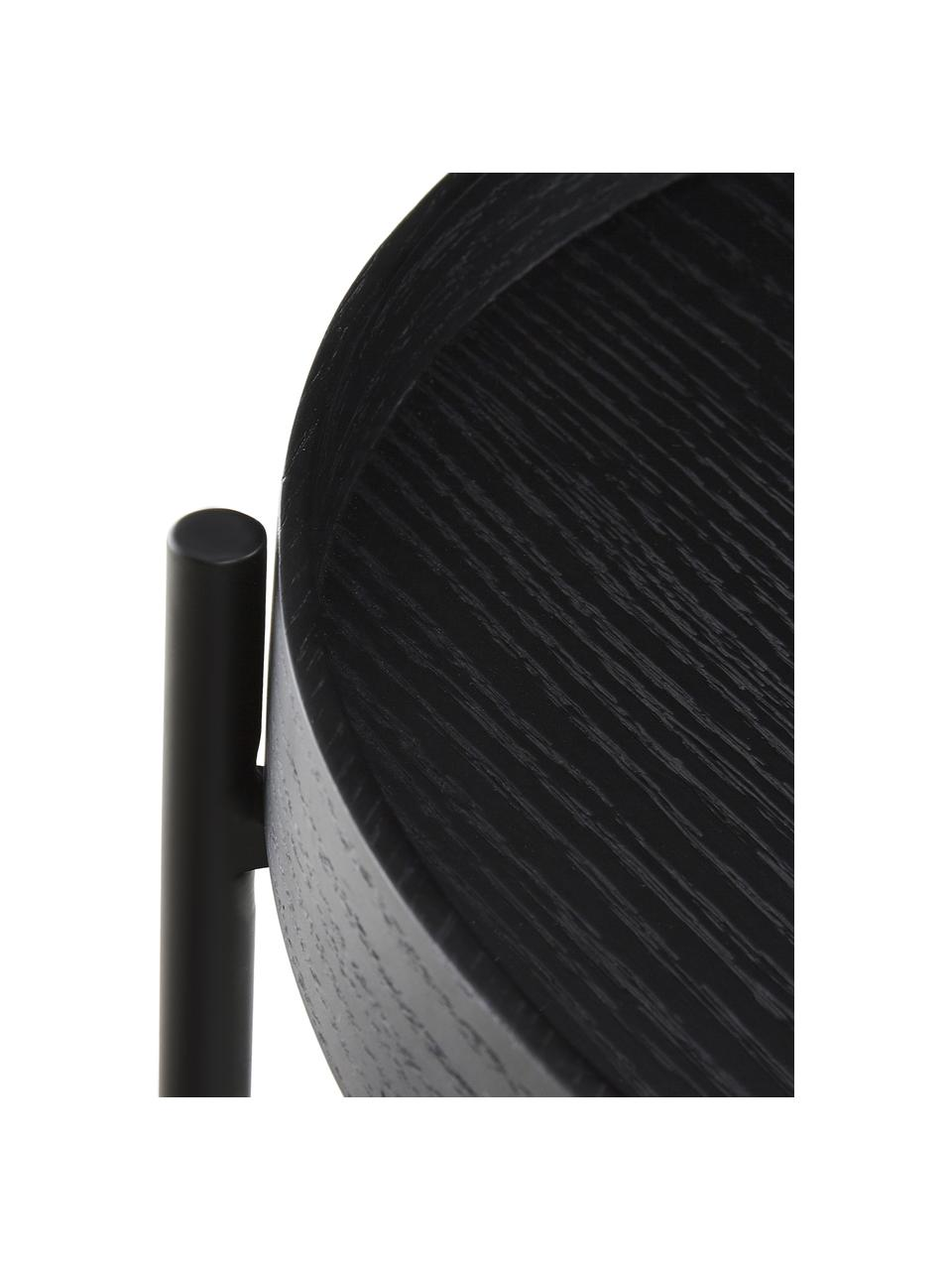 Holz-Beistelltisch Renee in Schwarz, Gestell: Metall, pulverbeschichtet, Schwarz, Ø 44 x H 49 cm