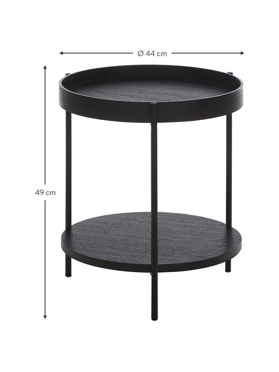 Bijzettafel Renee met opbergvak, Frame: gepoedercoat metaal, Tafelbladen: zwart. Frame: mat zwart, Ø 44 x H 49 cm