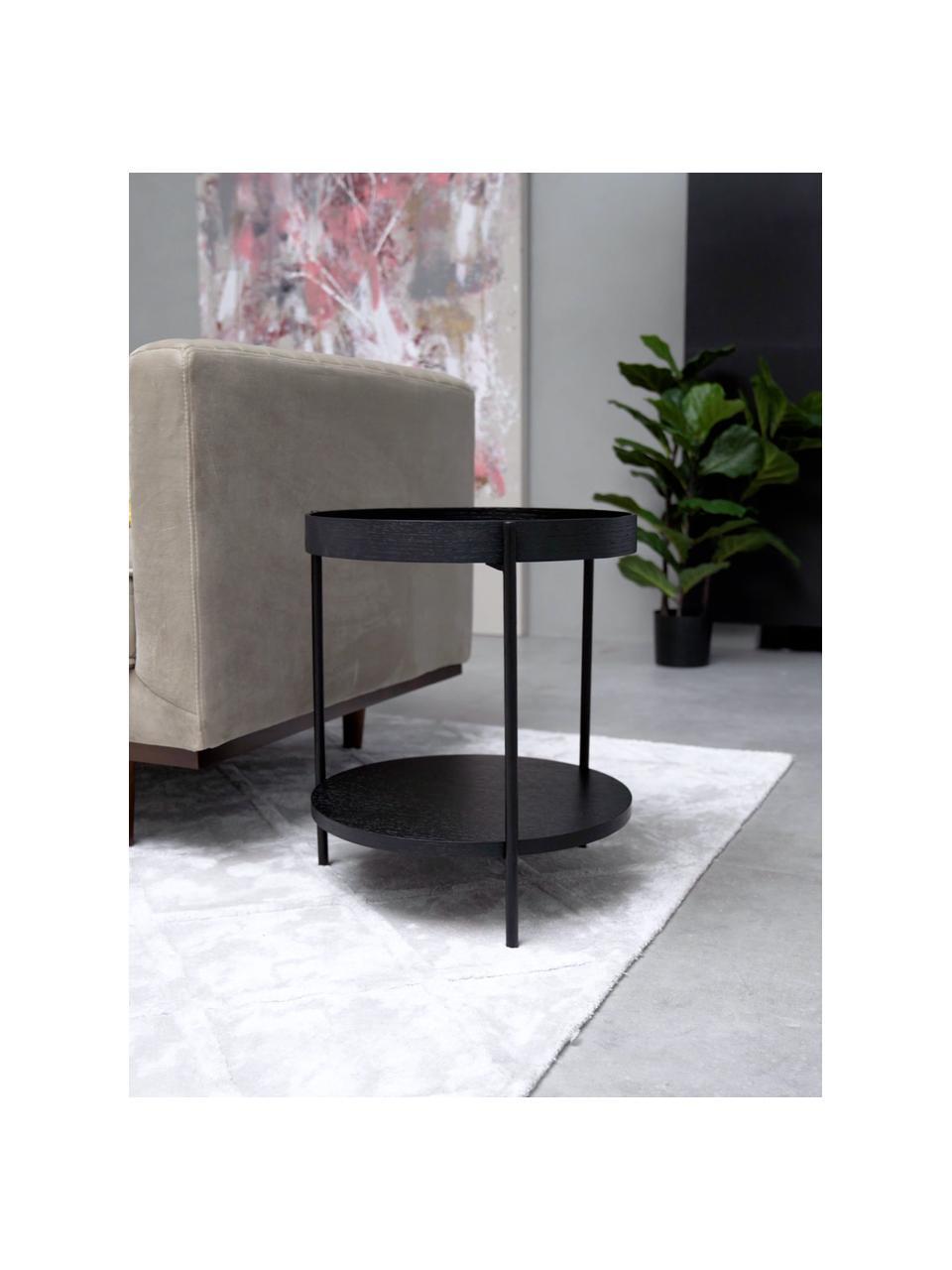 Tavolino rotondo con piano d'appoggio Renee, Ripiani: pannello di fibra a media, Struttura: metallo, verniciato a pol, Nero, Ø 44 x Alt. 49 cm