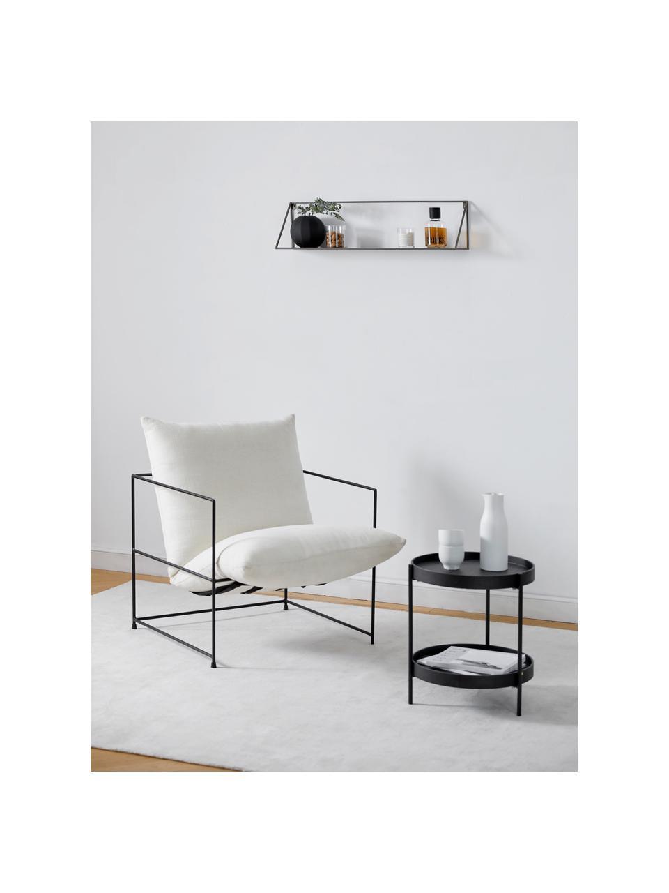 Stolik pomocniczy z półką Renee, Blat: płyta pilśniowa średniej , Stelaż: metal malowany proszkowo, Czarny, Ø 44 x W 49 cm