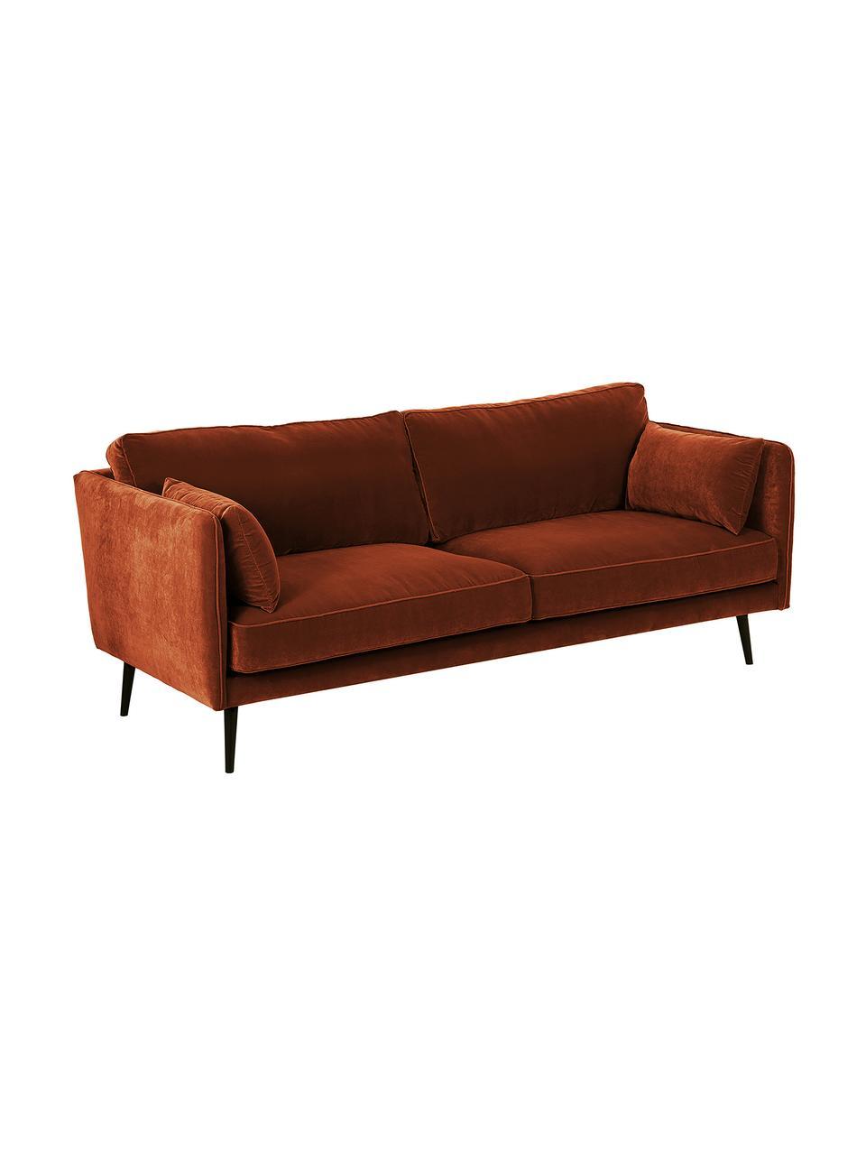 Sofa z aksamitu z drewnianymi nogami Paola (3-osobowa), Tapicerka: aksamit (poliester) 7000, Nogi: drewno świerkowe, lakiero, Aksamitny rdzawoczerwony, S 209 x G 95 cm