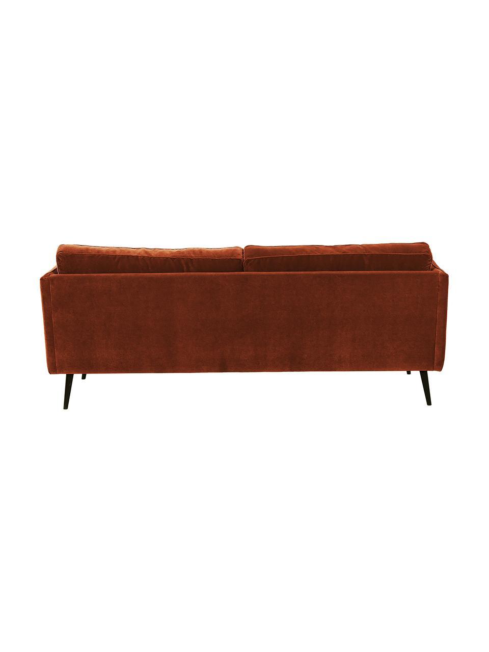 Fluwelen bank Paola (3-zits) in roodbruin met houten poten, Bekleding: fluweel (polyester), Frame: massief vurenhout, spaanp, Poten: gelakt vurenhout, Fluweel roodbruin, B 209 x D 95 cm