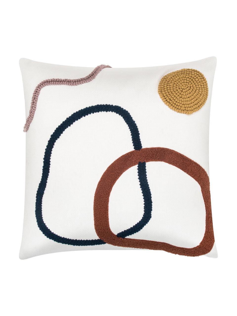 Kussenhoes Pablo met abstracte decoratie, 100% katoen, Voorzijde: multicolour. Achterzijde: wit, 45 x 45 cm