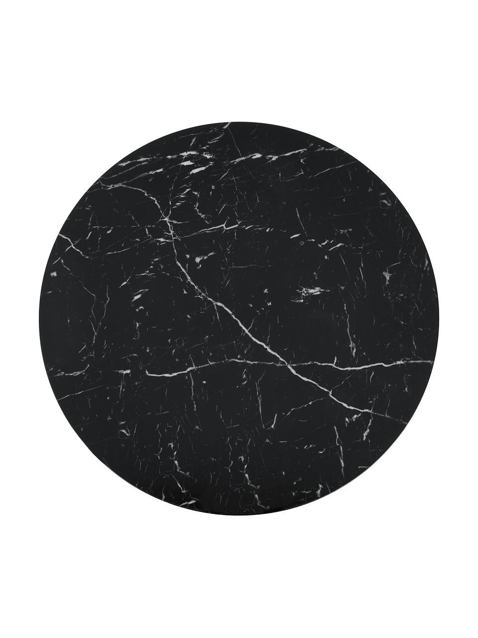 Ronde eettafel Karla in marmerlook, Tafelblad: MDF, bedekt met gelakt pa, Tafelblad: zwart, gemarmerd. Tafelpoot: mat zwart, Ø 90 x H 75 cm