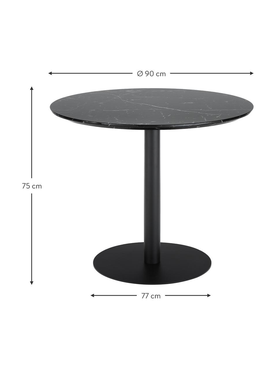 Okrągły stół do jadalni z imitacji marmuru Karla, Blat: płyta pilśniowa średniej , Blat: czarny, marmurowy Noga stołu: czarny, matowy, Ø 90 x W 75 cm