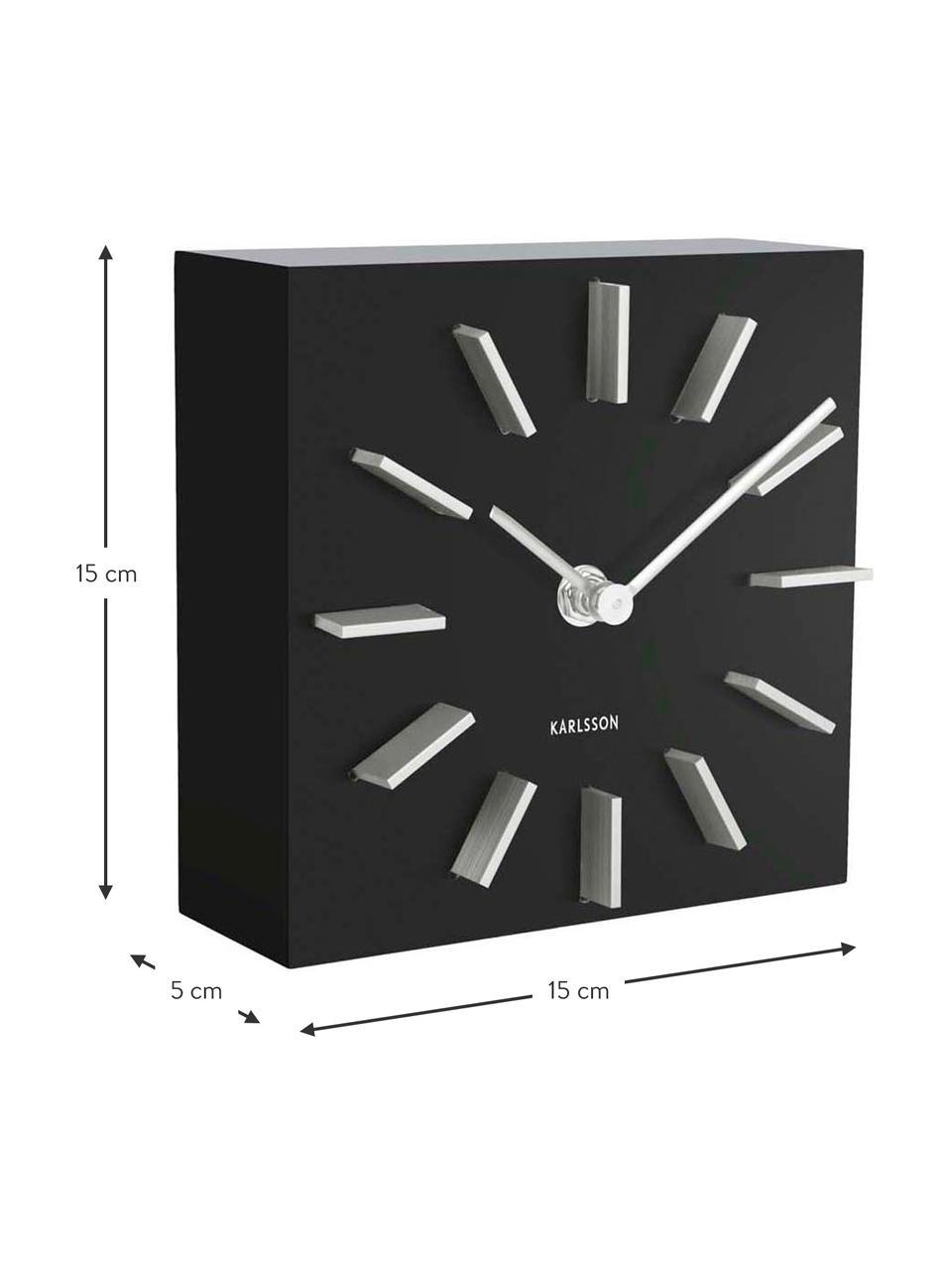 Tischuhr Discreet, Mitteldichte Holzfaserplatte (MDF), Schwarz, Weiß, 15 x 15 cm