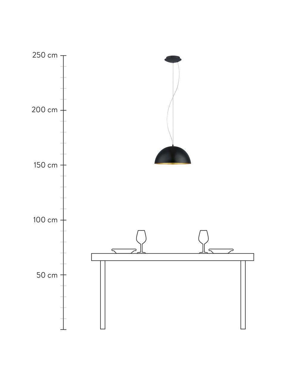Hanglamp Brad met goudkleurige decoratie, Baldakijn: gepoedercoat metaal, Lampenkap: gepoedercoat metaal, Zwart, Ø 38  x H 18 cm