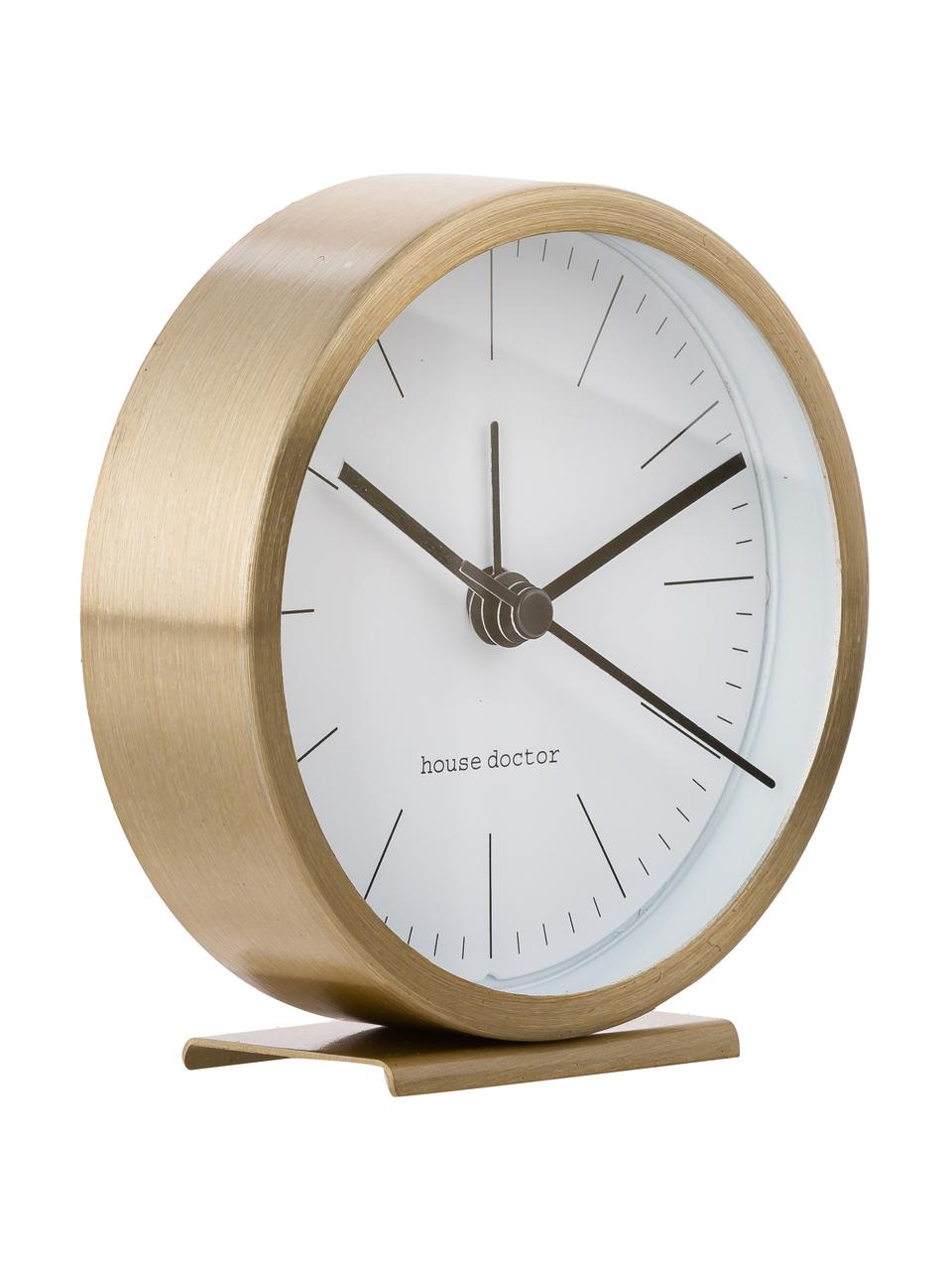 Wecker Hannah, Rahmen: Aluminium, Front: Glas, Ziffernblatt: Papier, Goldfarben, Ø 9 x H 9 cm