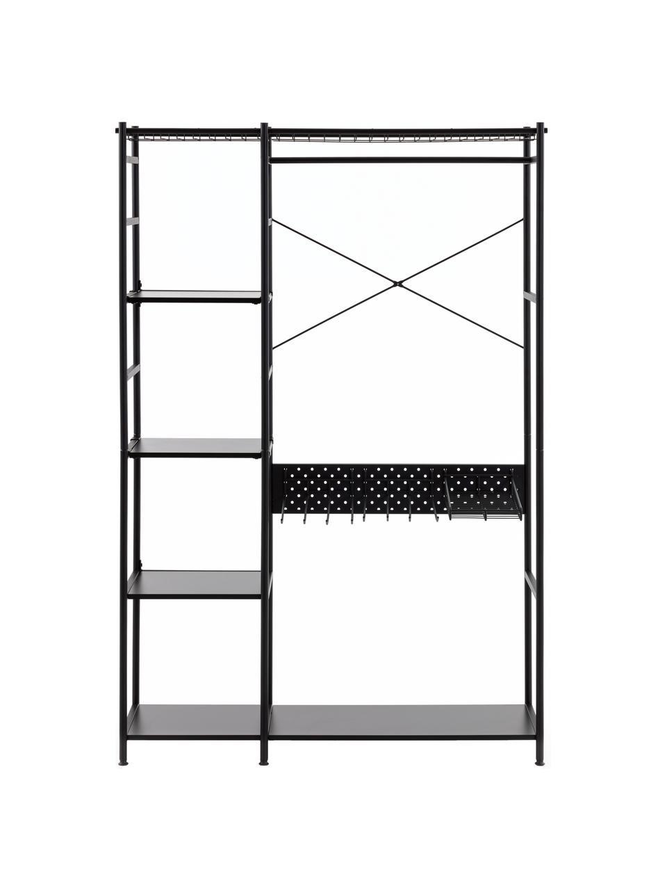 Otwarta szafa z metalu Storn, Stelaż: metal lakierowany, Czarny, S 120 x W 182 cm