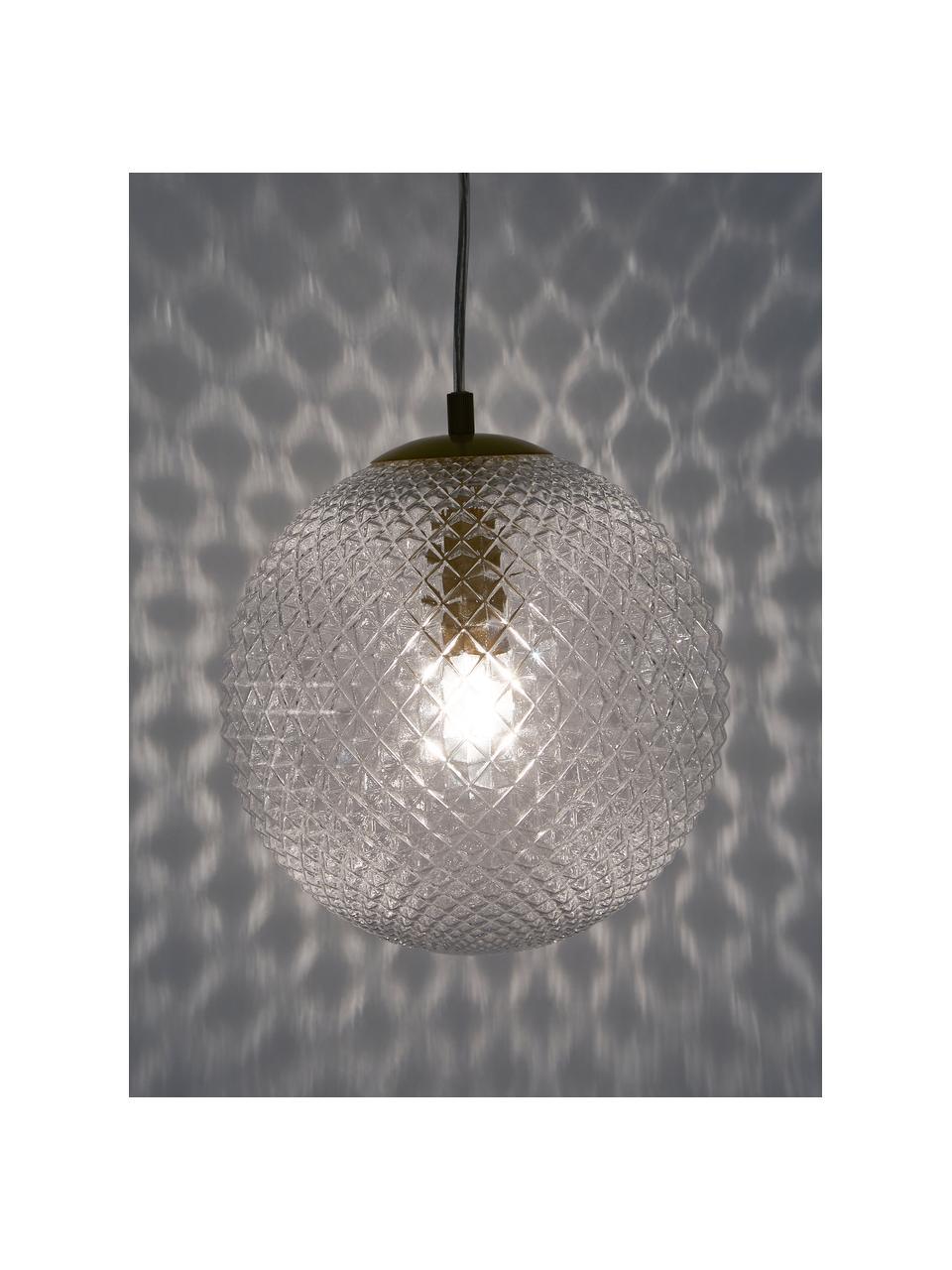 Lampada a sospensione in vetro Lorna, Paralume: vetro, Baldacchino: metallo zincato, Trasparente, Ø 25 cm
