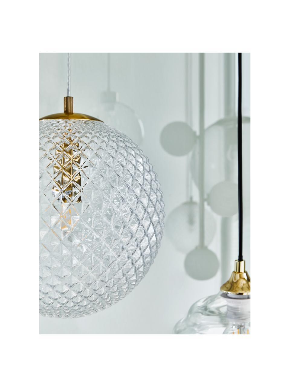 Kleine hanglamp Lorna van glas, Lampenkap: glas, Decoratie: gegalvaniseerd metaal, Baldakijn: gegalvaniseerd metaal, Transparant, Ø 25 cm