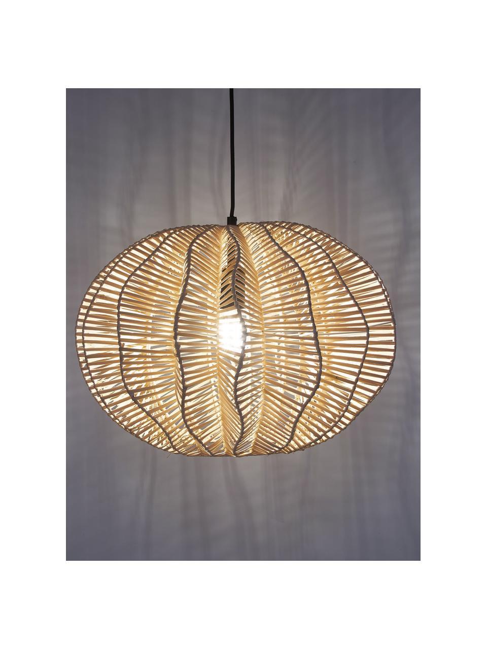 Lampada a sospensione in rattan Ufe, Paralume: rattan, Baldacchino: metallo verniciato a polv, Beige, Ø 50 x Alt. 38 cm