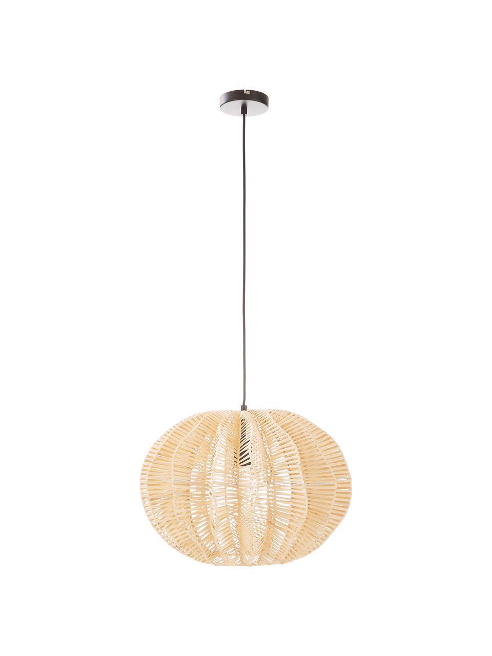 Hanglamp Ufe van rotan, Lampenkap: rotan, Baldakijn: gepoedercoat metaal, Beige, Ø 50 x H 38 cm