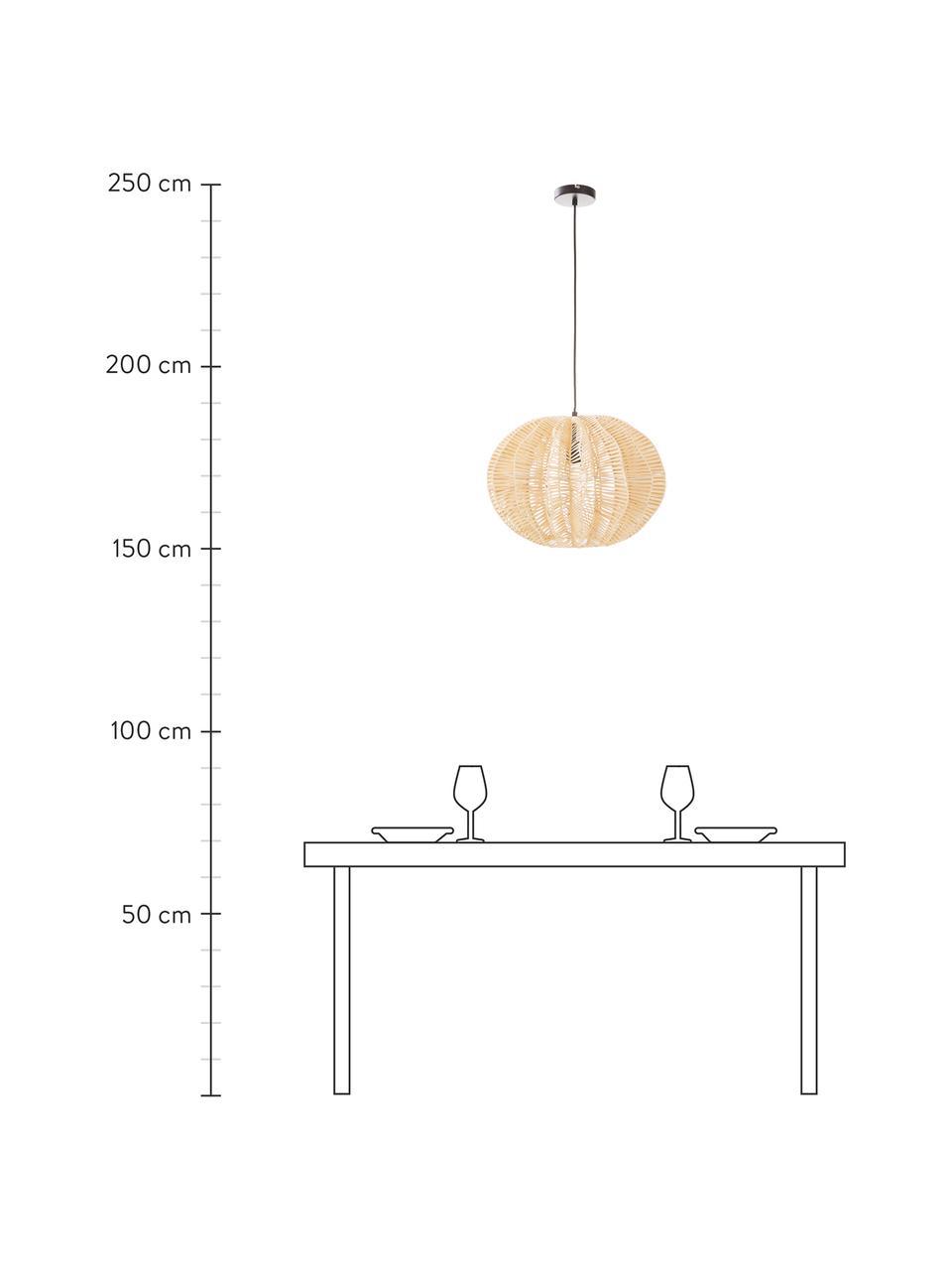 Pendelleuchte Ufe aus Rattan, Lampenschirm: Rattan, Baldachin: Metall, pulverbeschichtet, Beige, Ø 50 x H 38 cm