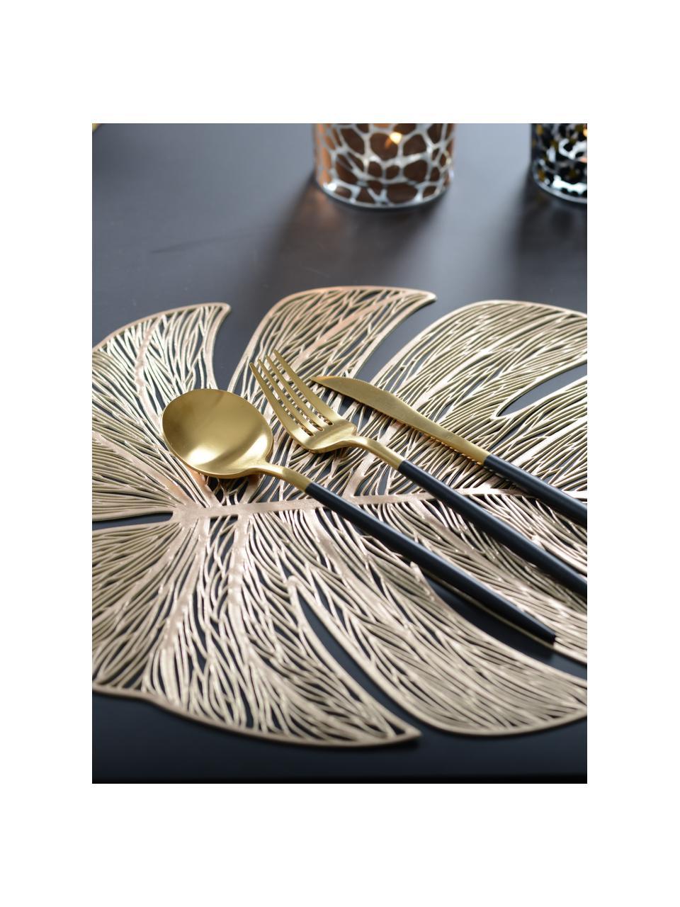 Goldene Kunststoff-Tischsets Leaf in Blattform, 2 Stück, Kunststoff, Goldfarben, 33 x 40 cm