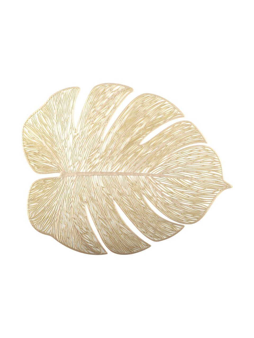 Tovaglietta ameriana dorata Leaf 2 pz, Materiale sintetico, Dorato, Larg. 33 x Lung. 40 cm
