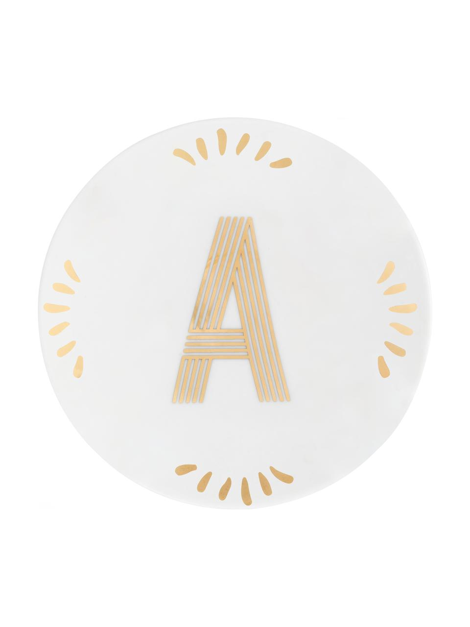 Piatto colazione in porcellana Yours (varianti dalla A alla Z), Porcellana, Bianco, dorato, Piatto A
