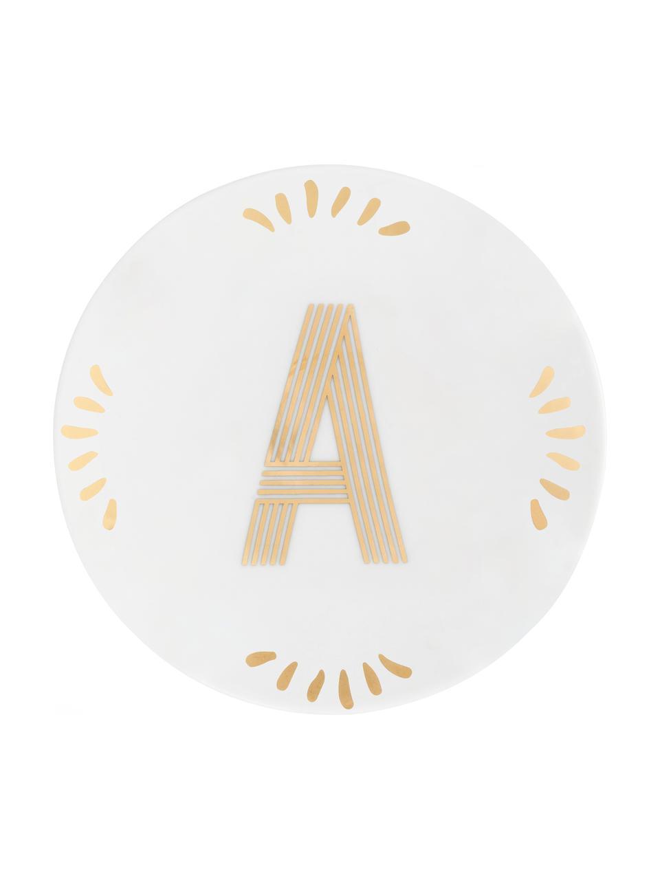 Porzellan-Frühstücksteller Yours mit Buchstaben (Varianten von A bis Z) in Gold, Porzellan, Weiß, Goldfarben, Teller A