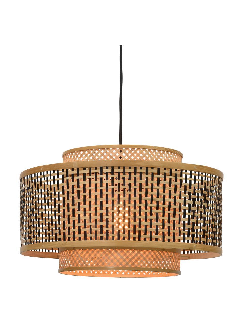 Hanglamp Bhutan van bamboehout, Lampenkap: bamboe, Baldakijn: gecoat metaal, Beige, zwart, Ø 50 x H 30 cm