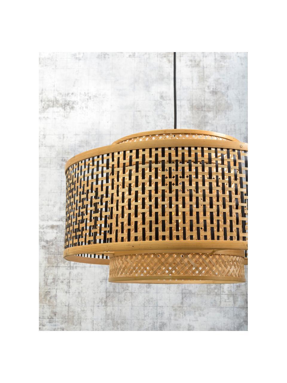 Pendelleuchte Bhutan aus Bambus, Lampenschirm: Bambus, Baldachin: Metall, beschichtet, Beige, Schwarz, Ø 50 x H 30 cm