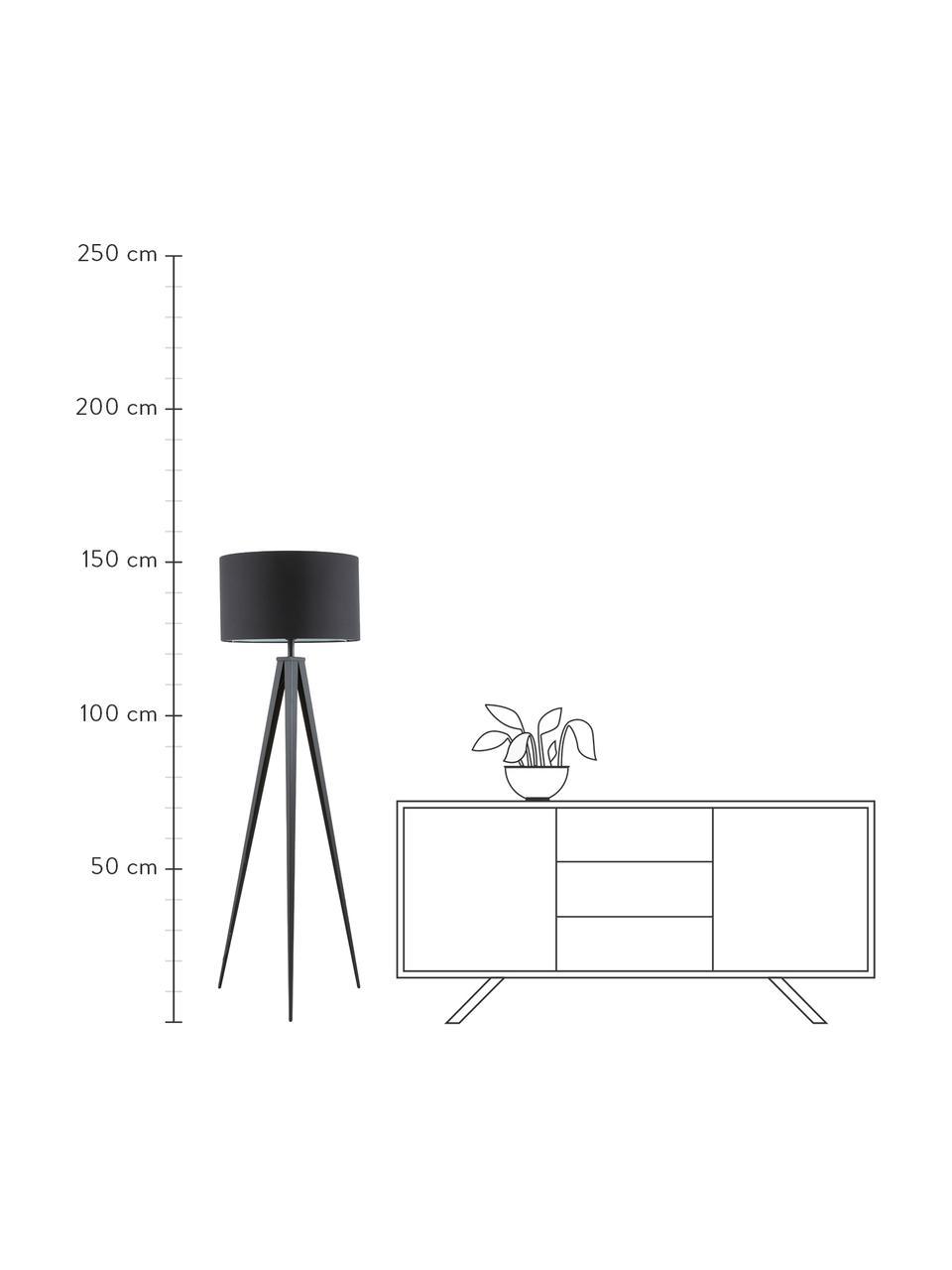 Lampa podłogowa z metalową podstawą Jake, Klosz: czarny Podstawa lampy: matowy czarny, Ø 50 x W 154 cm