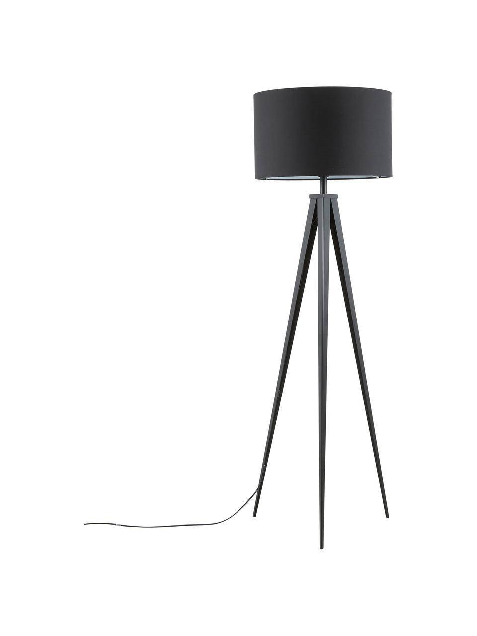 Moderne Tripod vloerlamp Jake met metalen voet, Lampenkap: katoenmix, Lampvoet: gepoedercoat metaal, Lampenkap: zwart. Lampvoet: mat zwart, Ø 50 x H 154 cm