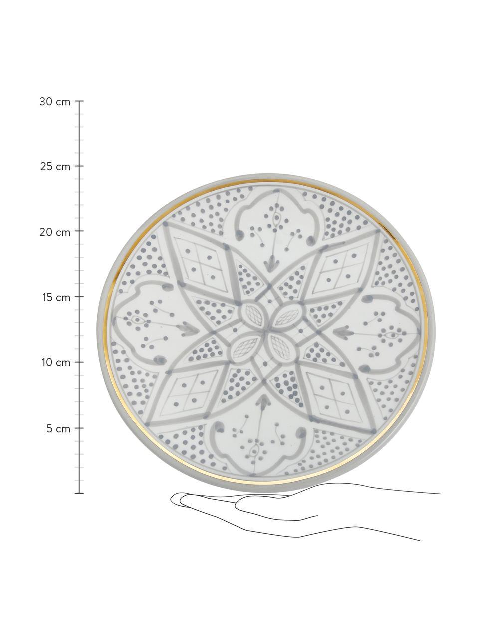 Ręcznie wykonany talerz duży Assiette, Ceramika, Jasny szary, odcienie kremowego, złoty, Ø 26 x W 2 cm