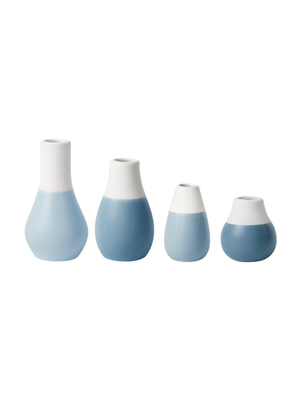 XS-Vasen-Set Pastell aus Steingut, 4-tlg., Steingut mit Glasur, Blautöne, Weiß, Sondergrößen