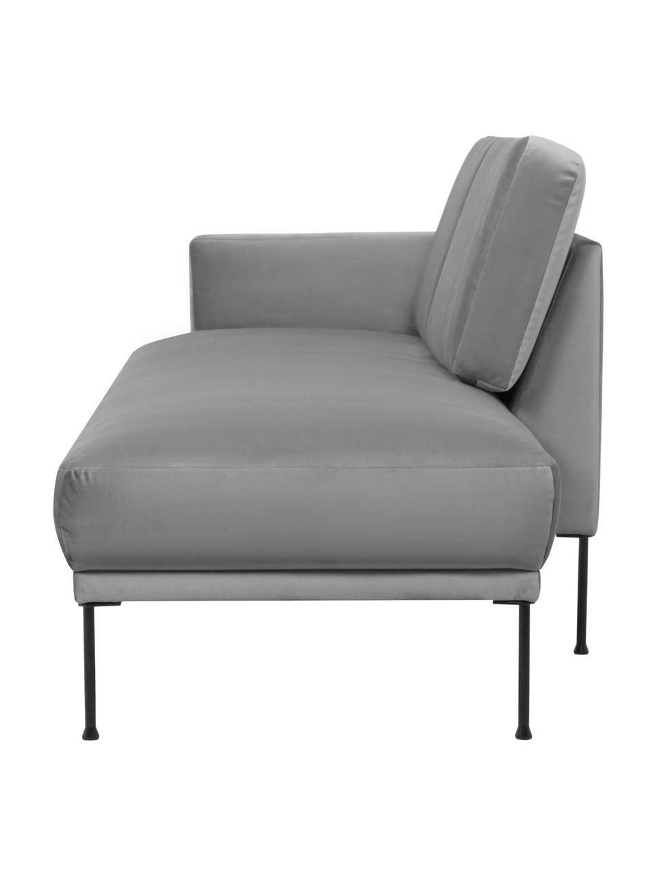 Fluwelen chaise longue Fluente in lichtgrijs met metalen poten, Bekleding: fluweel (hoogwaardig poly, Frame: massief grenenhout, Poten: gepoedercoat metaal, Lichtgrijs, B 202 x D 85 cm