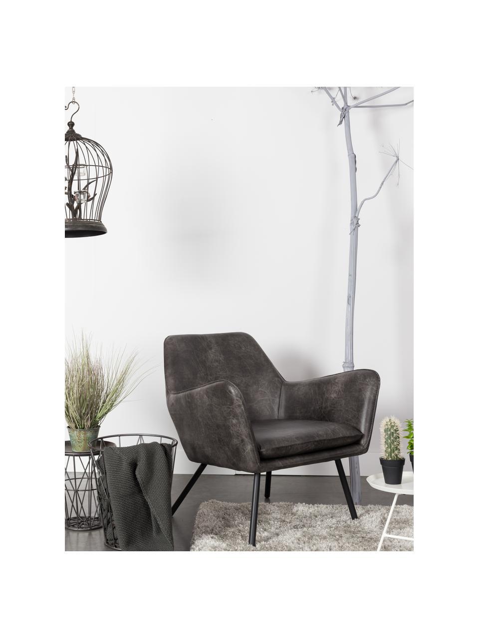 Kunstleren lounge fauteuil Bon in industrieel design, Bekleding: kunstleer (64% polyuretha, Poten: gelakt metaal, Kunstleer donkergrijs, B 80 x D 76 cm