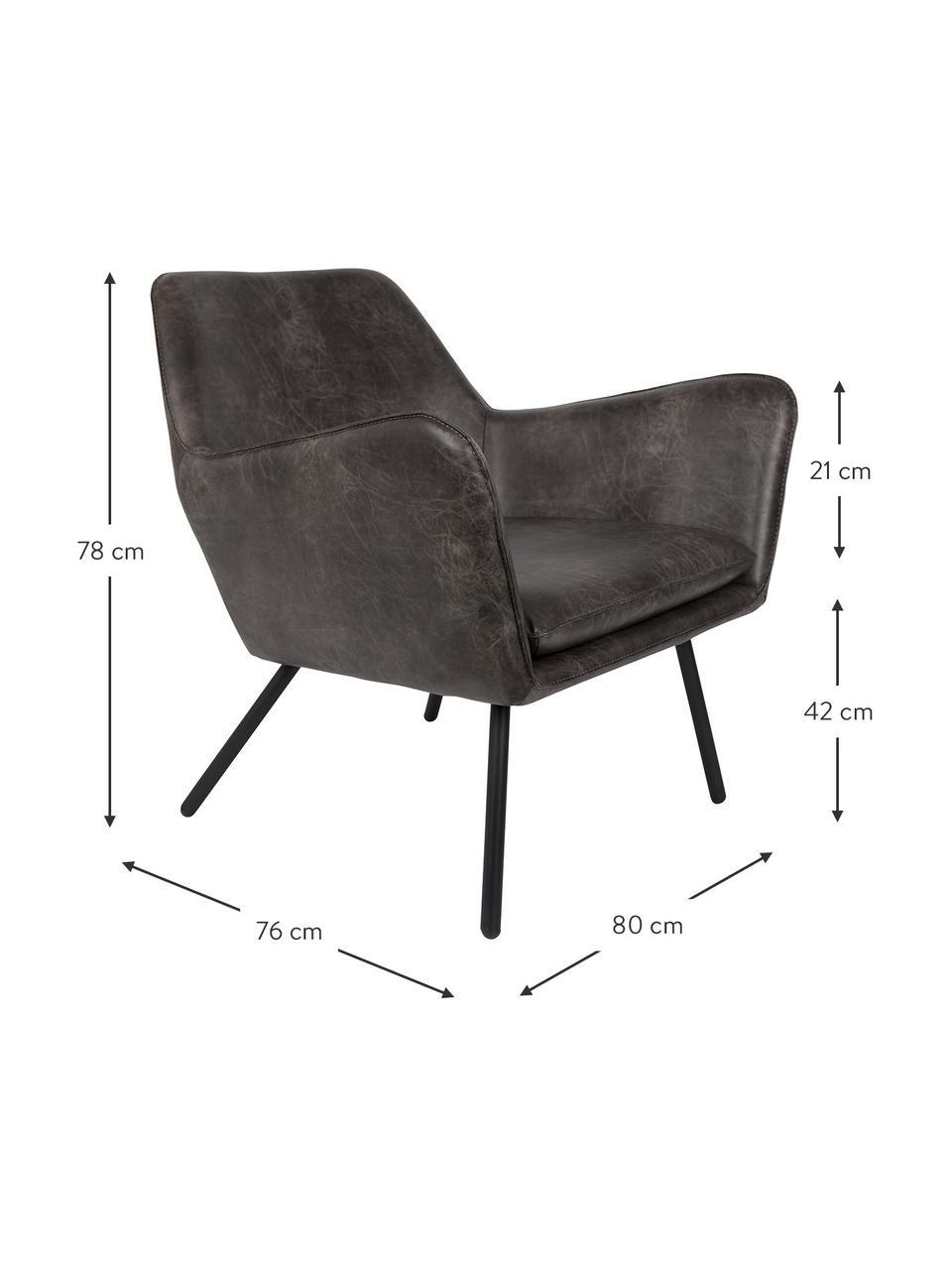 Fotel wypoczynkowy ze sztucznej skóry w stylu industrial Bon, Tapicerka: sztuczna skóra (64% poliu, Nogi: metal lakierowany, Sztuczna skóra, ciemny szary, S 80 x G 76 cm