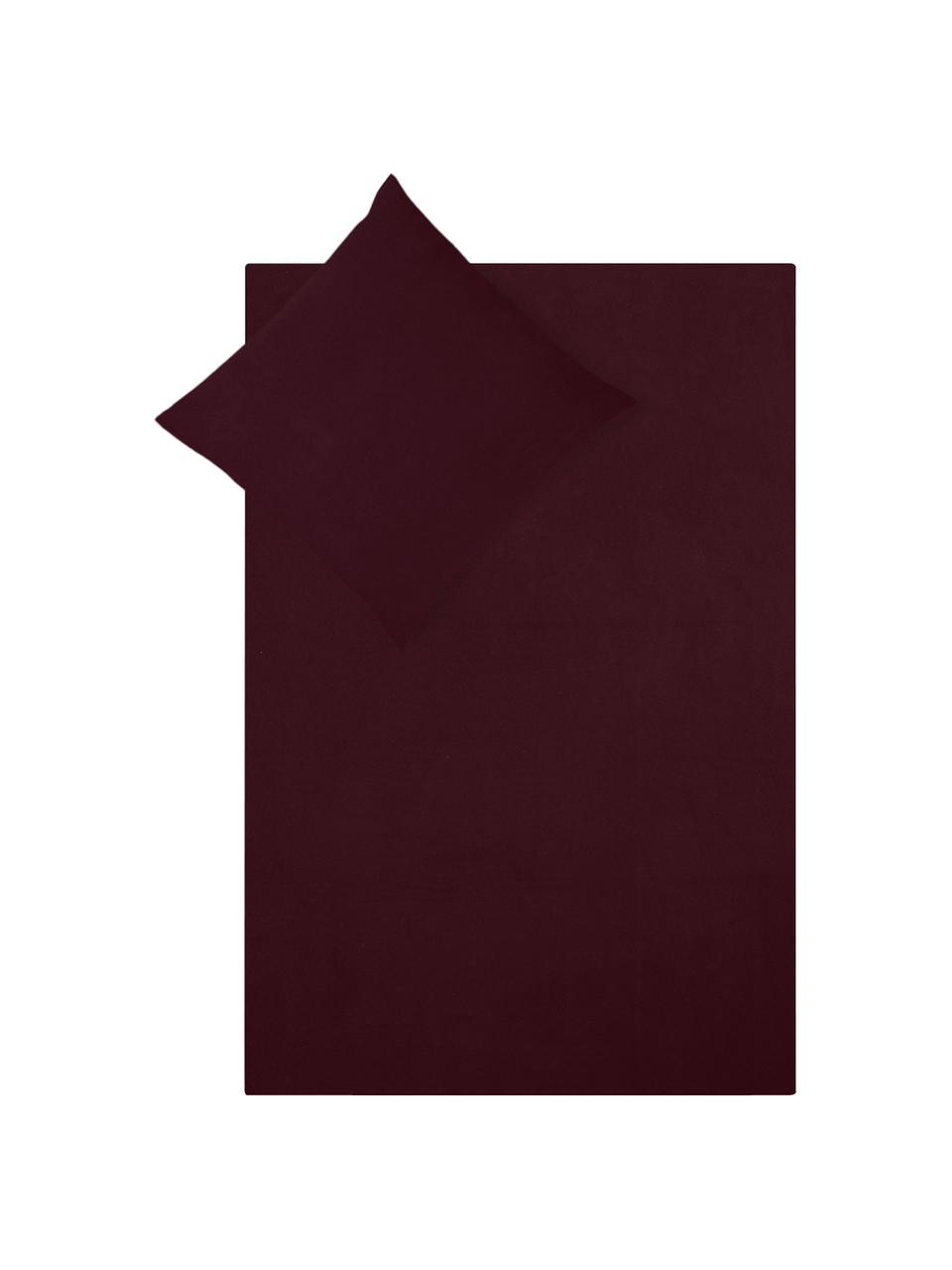 Pościel z flaneli Biba, Ciemny czerwony, 135 x 200 cm