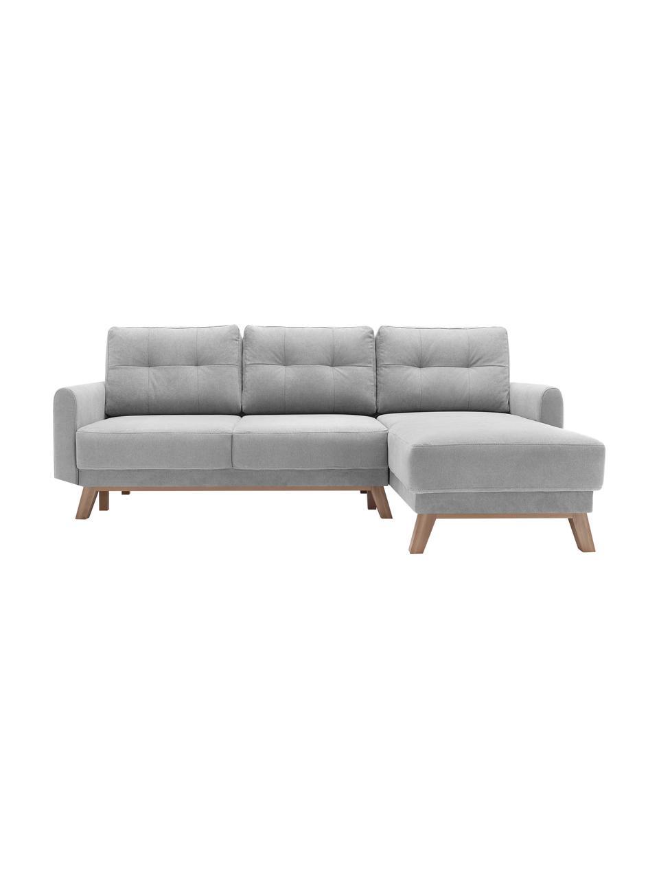 Sofa narożna z aksamitu z funkcją spania i miejscem do przechowywania  Balio (4-osobowa), Tapicerka: 100% aksamit poliestrowy , Nogi: drewno naturalne, Aksamitny jasny szary, S 234 x G 164 cm
