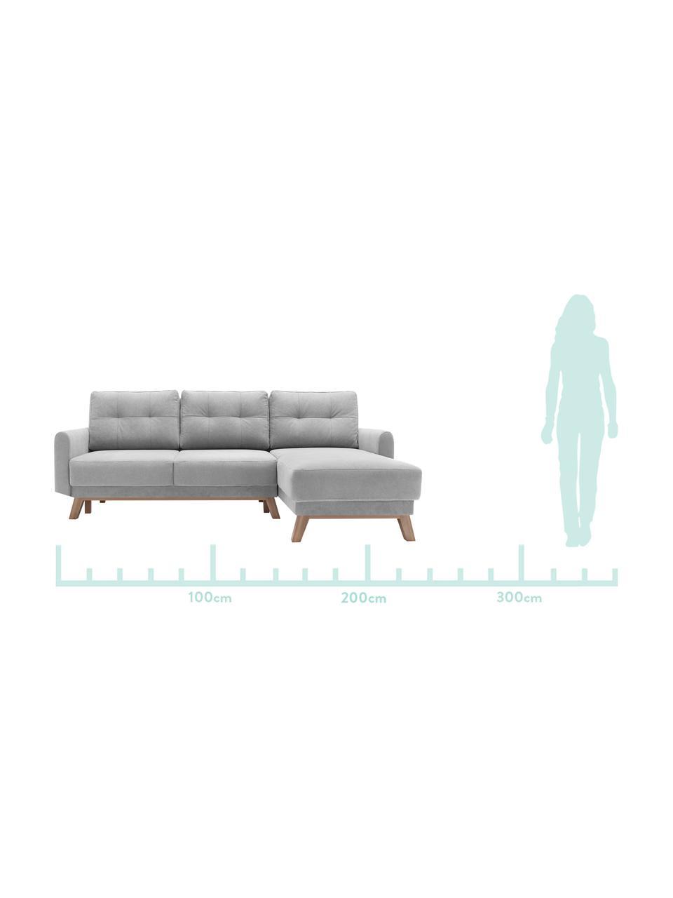 Lichtgrijze hoekbank Balio (4-zits) met opbergfunctie, Bekleding: 100% polyester fluweel, Frame: massief grenenhout, spaan, Poten: hout, Lichtgrijs, naturel, B 234 cm x D 164 cm