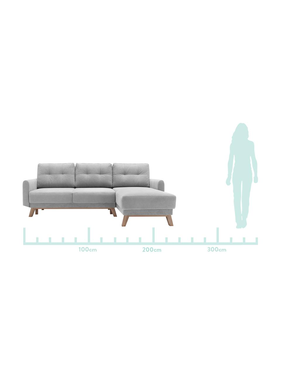 Sofa narożna z aksamitu z funkcją spania i miejscem do przechowywania  Balio (4-osobowa), Tapicerka: aksamit poliestrowy Dzięk, Nogi: drewno naturalne, Jasny szary, drewno naturalne, S 234 x G 164 cm (prawostronna)
