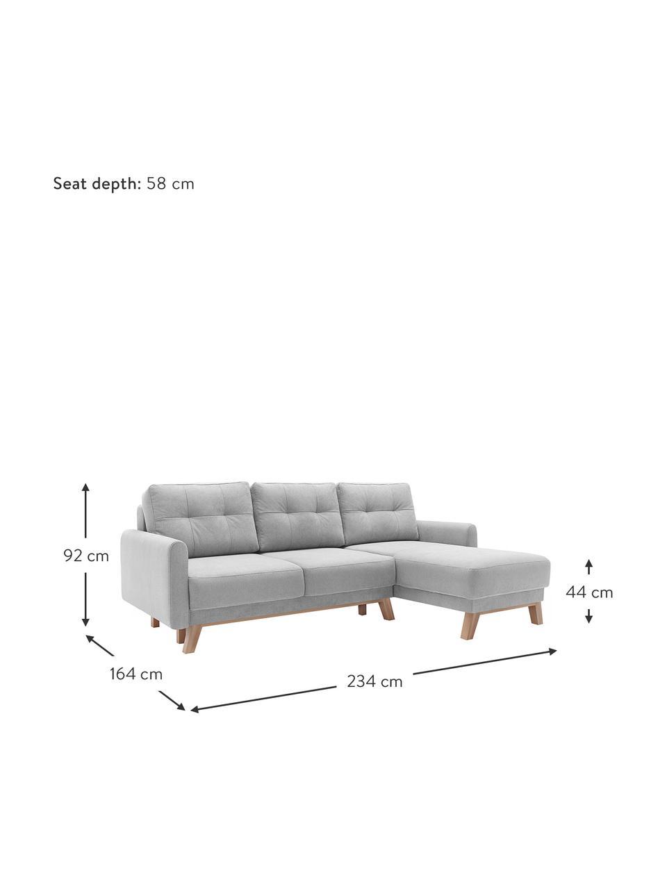 Lichtgrijze hoekslaapbank Balio (4-zits) met opbergfunctie, Bekleding: 100% polyester fluweel, Frame: massief grenenhout, spaan, Poten: hout, Fluweel lichtgrijs, B 234 cm x D 164 cm