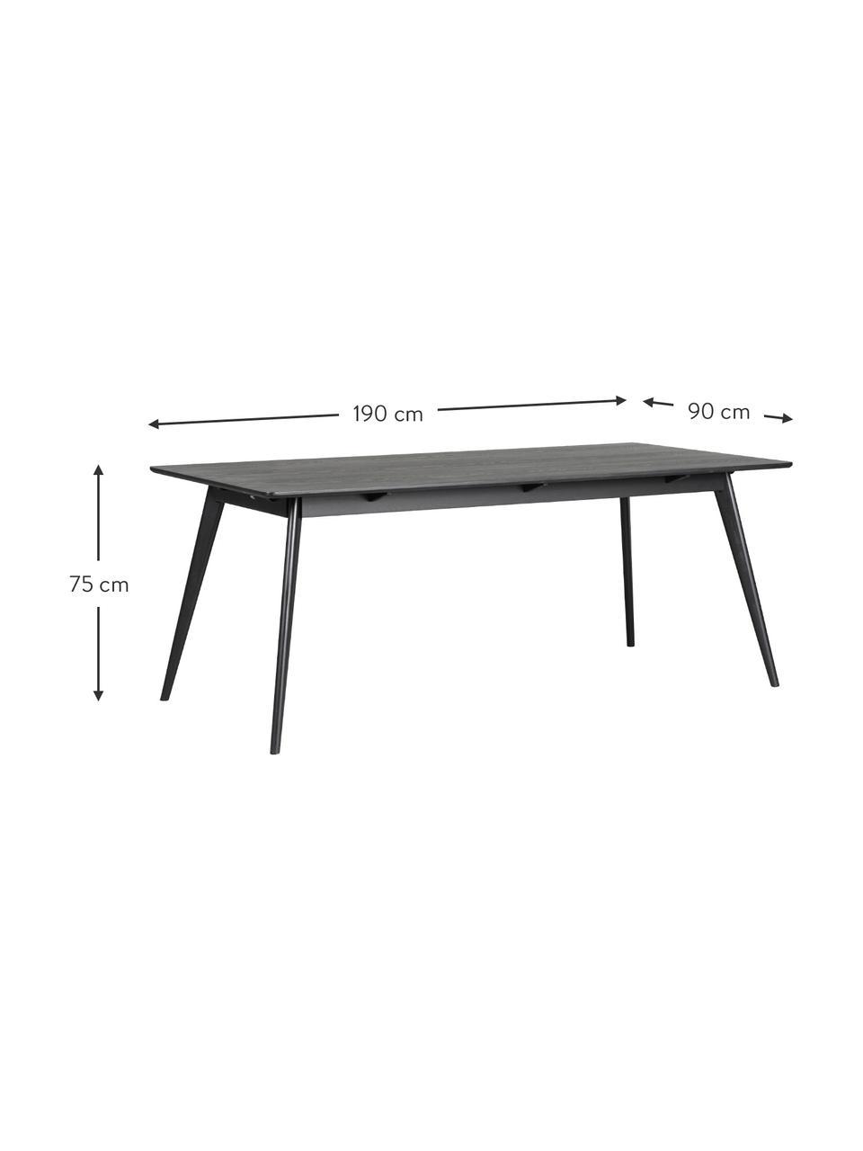 Tavolo da pranzo nero  Yumi, 190x90 cm, Piano d'appoggio: pannello di fibra a media, Gambe: albero della gomma massel, Nero, Larg. 190 x Prof. 90 cm