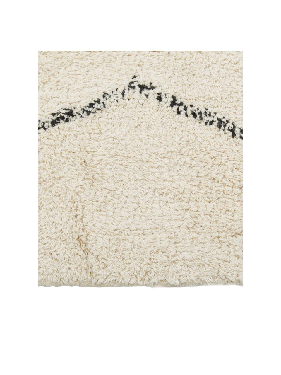 Handgetufteter Baumwollteppich Bina mit Rautenmuster, 100% Baumwolle, Beige, Schwarz, B 200 x L 300 cm (Größe L)