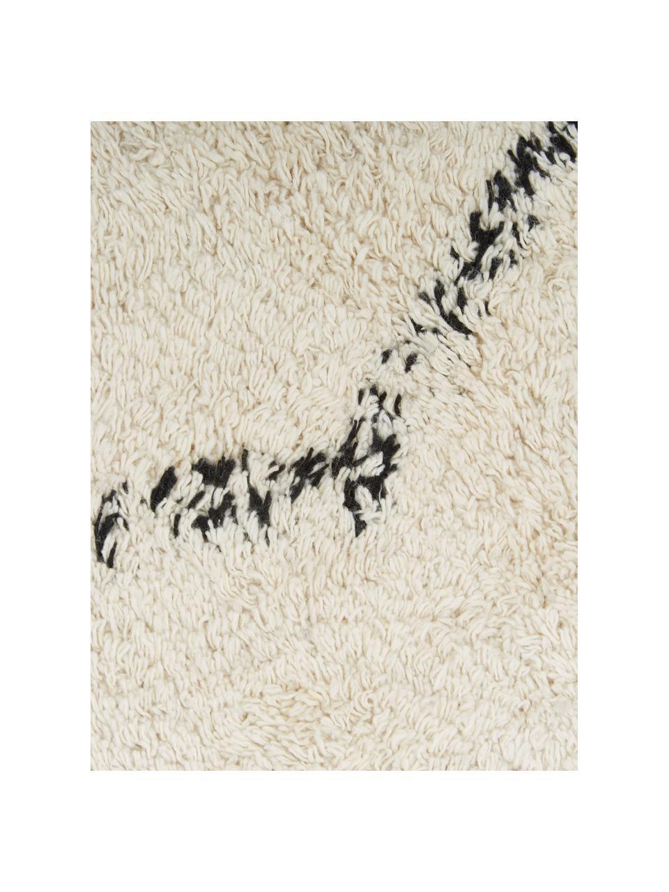 Handgetufteter Baumwollteppich Bina mit Rautenmuster und Fransen, 100% Baumwolle, Beige, Schwarz, B 200 x L 300 cm (Größe L)
