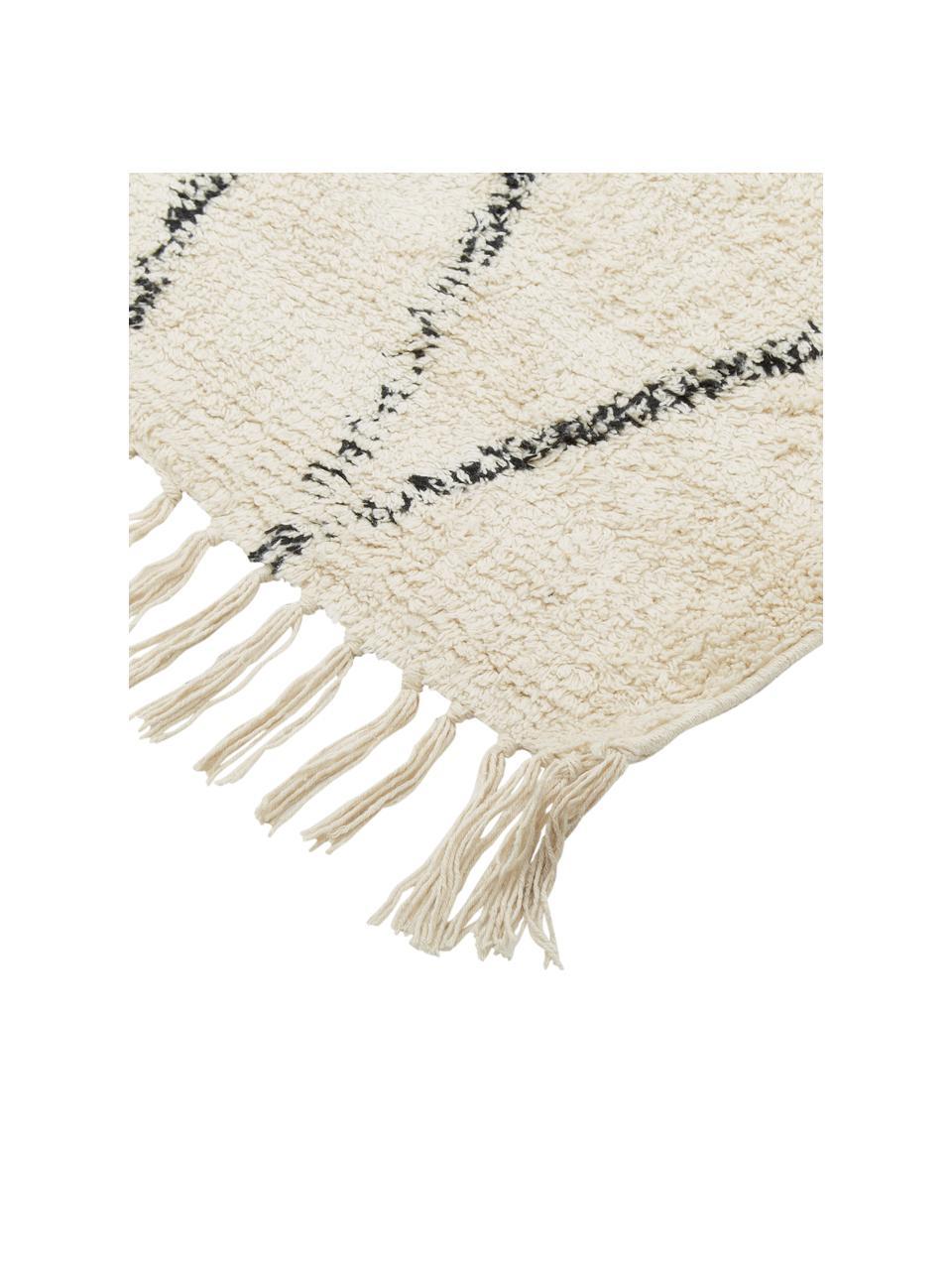 Ręcznie tuftowany dywan z bawełny z frędzlami Bina, 100% bawełna, Beżowy, czarny, S 200 x D 300 cm (Rozmiar L)