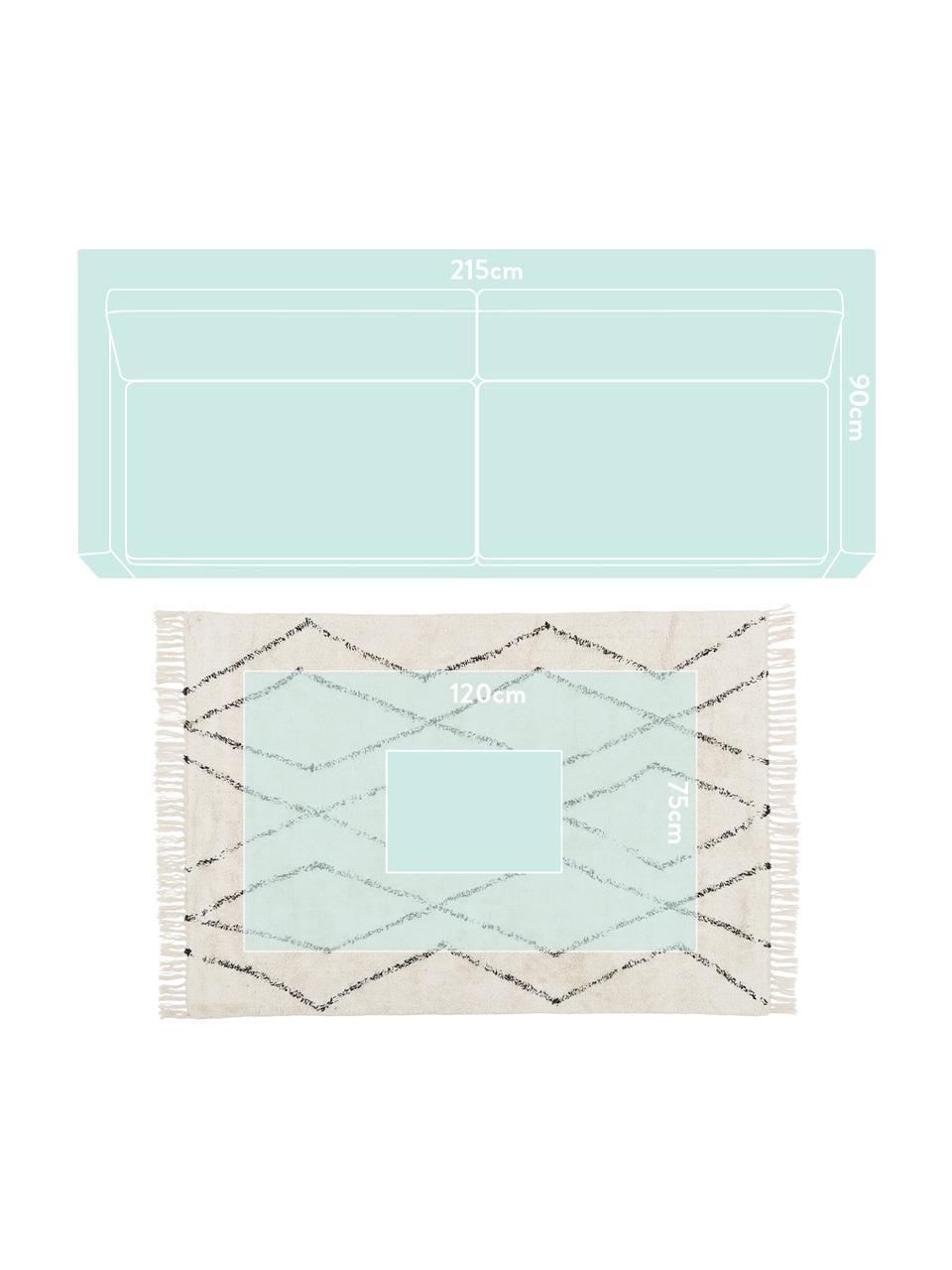 Tappeto in cotone taftato a mano con motivo a rombi e frange Bina, 100% cotone, Beige, nero, Larg. 200 x Lung. 300 cm (taglia L)