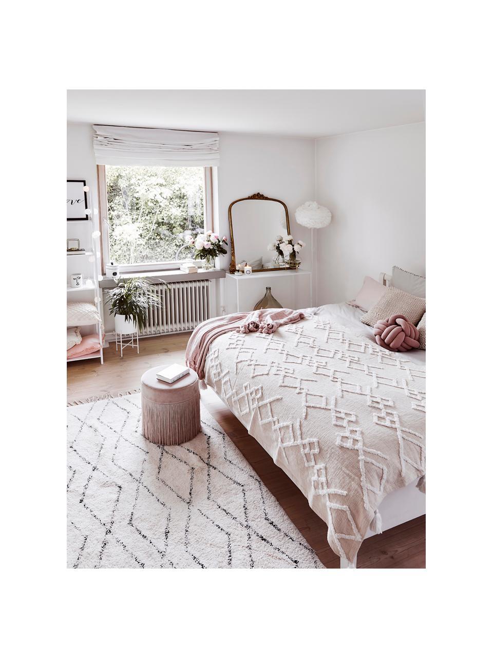 Handgetuft katoenen vloerkleed Bina met ruitjesmotief en franjes, 100% katoen, Beige, zwart, B 200 x L 300 cm (maat L)