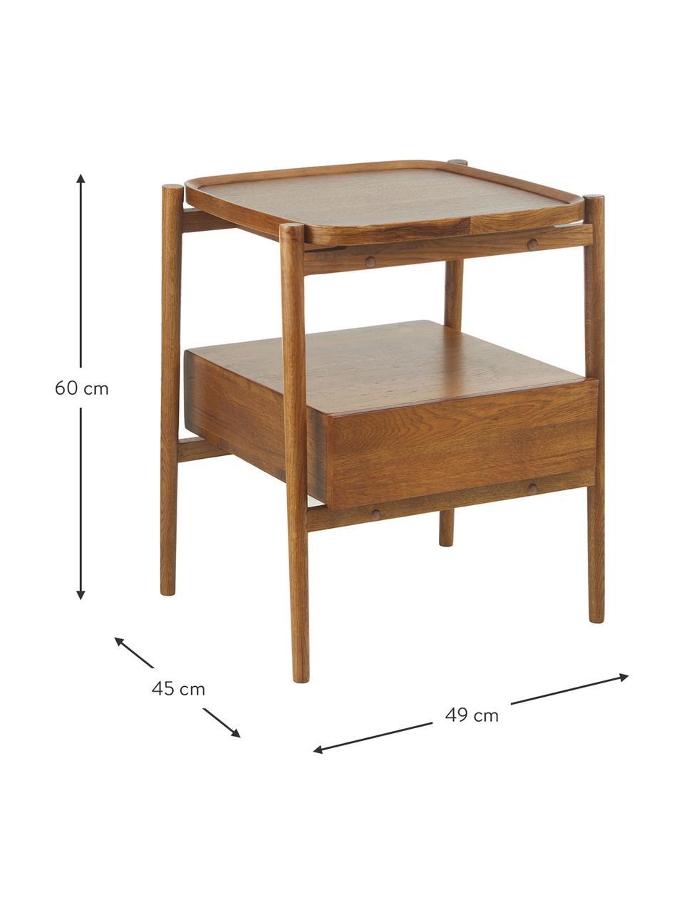 Nachtkastje Libby van eikenhout, Plank: eikenhoutfineer met MDF, Bruin, 49 x 60 cm